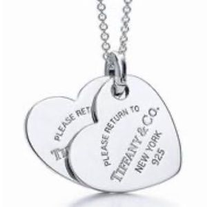 "TIFFANY & CO. Double Heart Pendant on 18"" Chain"